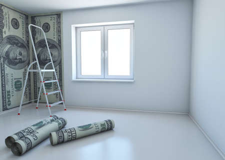 wallpaper patterned dollar as a symbol - the money for repairs. 3d rendering photo
