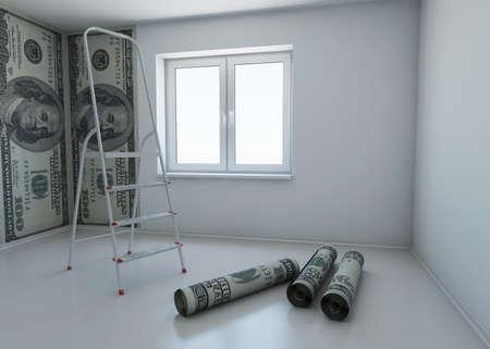 壁紙パターン ドルのお金のシンボルとして修復します。3 d レンダリング