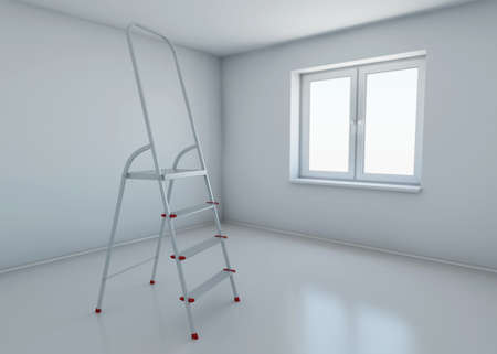 stepladder: stepladder standing in the middle of the room without any furniture. 3d rendering Stock Photo