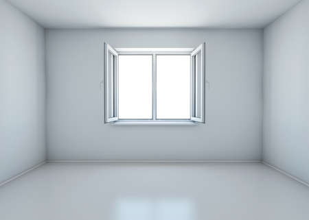 without window: room with the window open without furniture. 3d rendering Stock Photo