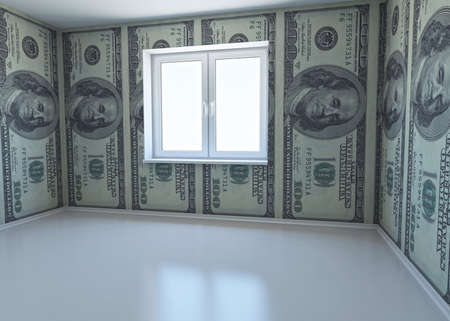 apartment abstract: wallpaper patterned dollar as a symbol - the money for repairs  3d rendering