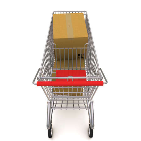 cardbox: shopping cart with boxes. 3d rendering on white background Stock Photo