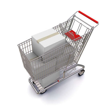 cardbox: shopping cart with white boxes. 3d rendering on white background Stock Photo