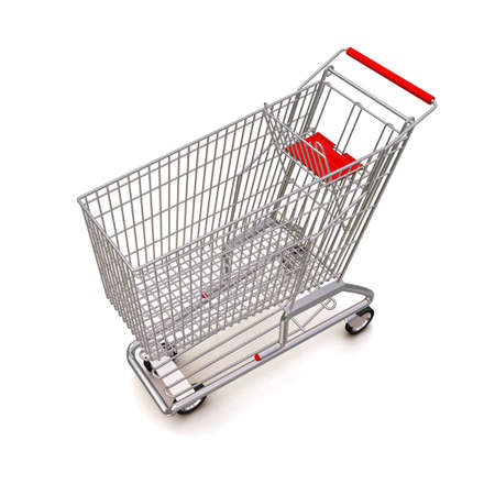 trolley from the supermarket. 3d rendering on white background photo