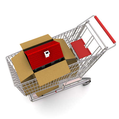 house in an open cardboard box, standing on trolley Stock Photo - 10337834