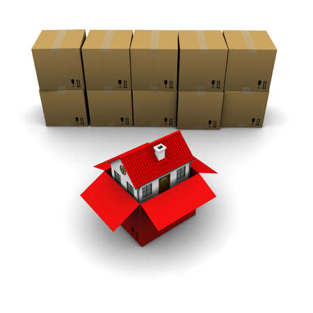 packer: house from a cardboard box on the background of the group boxes Stock Photo
