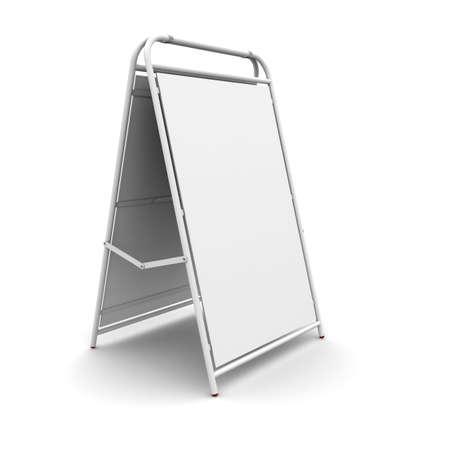portative: pubblicit� supporto bianco. Rendering 3D su sfondo bianco