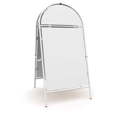 portative: stand pubblicit� bianco. rendering 3D su sfondo bianco