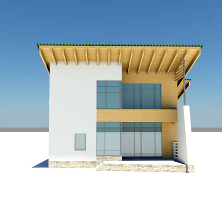 house with a green roof is on a white ground against the blue sky. front view photo