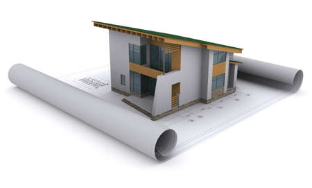 visualization: house with a green roof is on the construction drawings Stock Photo