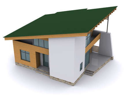 roof beam: house with green roof. 3d rendering on white background