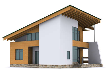 house with green roof. 3d rendering on white background photo