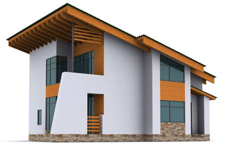 wood house: house rendering on white background