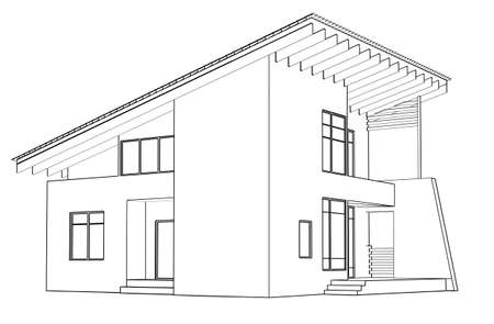 architectural drawing: architectural drawing at home in the perspective
