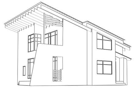 house sketch: architectural drawing at home in the perspective