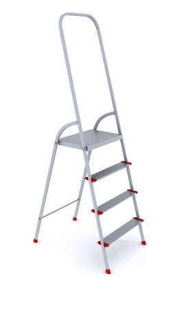 metal stepladder on a white background. 3d rendering Stock Photo - 10337246