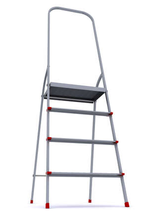 metal stepladder on a white background. 3d rendering photo
