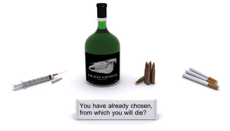 habitual: Drugs, alcohol, tobacco, guns - cause of death! Stock Photo