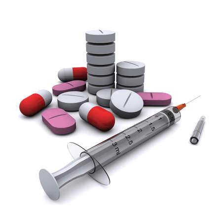 zastrzyk: Preparaty medycznych: Pills i strzykawki.