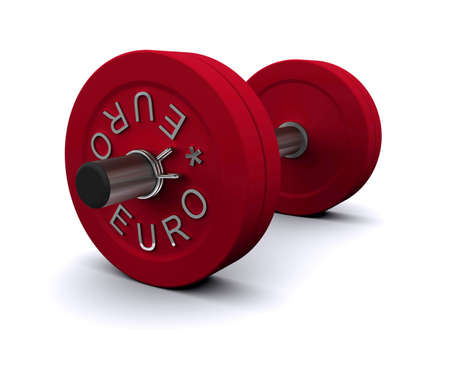 Red dumbbell on a white background Stock Photo - 10337586