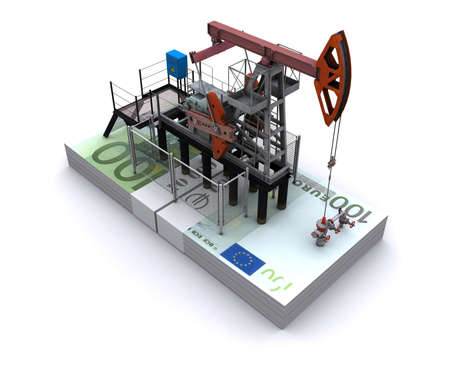 oilfield: Oil pump-jack stands on a pack of euro Stock Photo