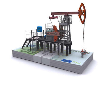 oilwell: Oil pump-jack stands on a pack of euro Stock Photo
