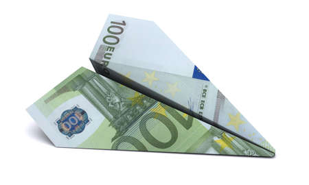 taking risks: paper airplane from the euro on a white background