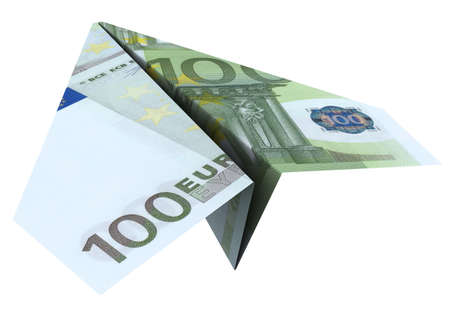 1 euro: paper airplane from the euro on a white background