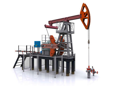 oil money: photorealistic oil pump-jack on a white background. 3d rendering
