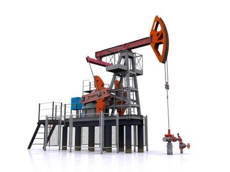 pozo petrolero: bomba de aceite-jack sobre un fondo blanco. representación 3D