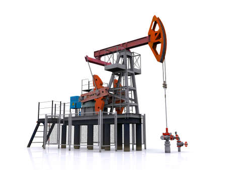 well head: oil pump-jack on a white background. 3d rendering