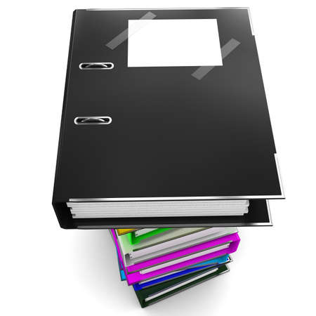 glossiness: Black office folder for papers - a symbol of black accounting Stock Photo