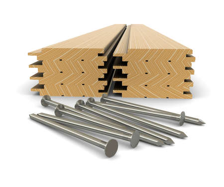 Lumber and nails - material for construction Stock Photo