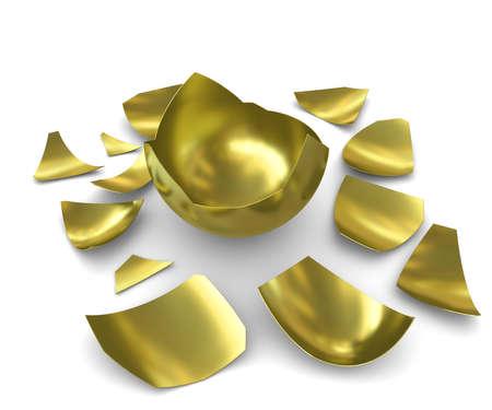 fragmented: Hatched golden egg on a white background