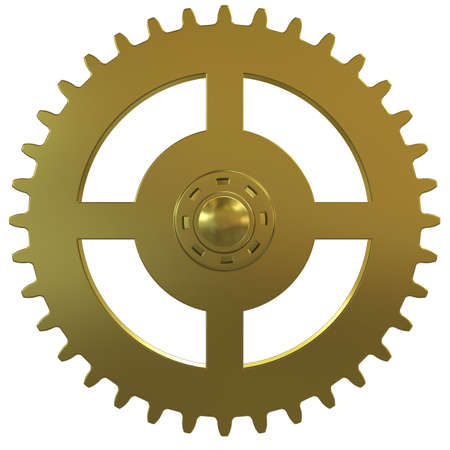 Gold gear of the clock on a white background photo
