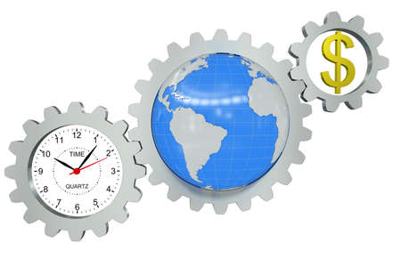 Business arrangement of gears, clock, earth and a dollar sign photo