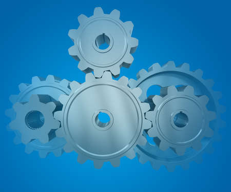 The gear wheels on a blue background photo