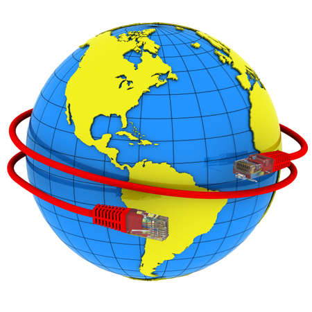 Red Internet cable wraps around the planet Earth Stock Photo - 10355282