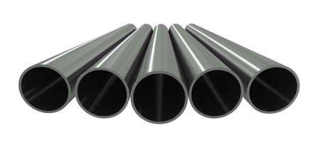 Group metal pipe on a white background photo