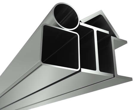 Metal pipe, girders, angles, channels and square tube on a white background photo