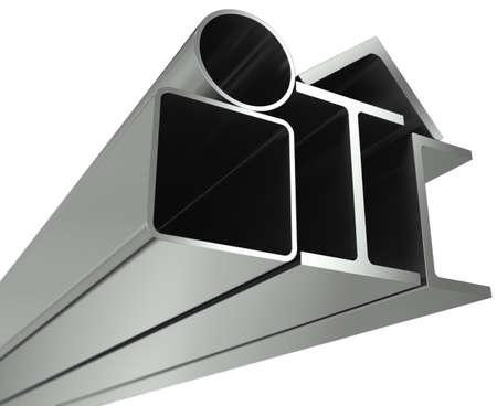 firmeza: Tubo de metal, vigas, �ngulos, canales y tubos cuadrados sobre un fondo blanco Foto de archivo