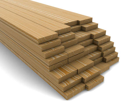 woody: A stack of pine boards on a white background