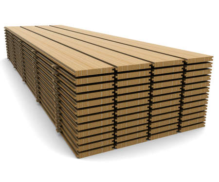 natural resources: A stack of pine boards on a white background