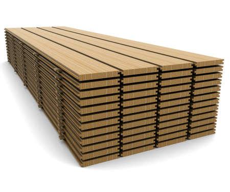 natural resources: Una pila de tablas de pino sobre un fondo blanco