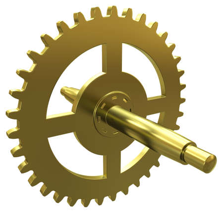 Gold gear of the clock on a white background Stock Photo - 10413266