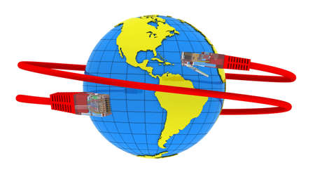 Red Internet cable wraps around the planet Earth photo