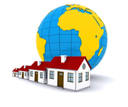 immigrate: Worldwide Properties. 3d rendering on white background Stock Photo