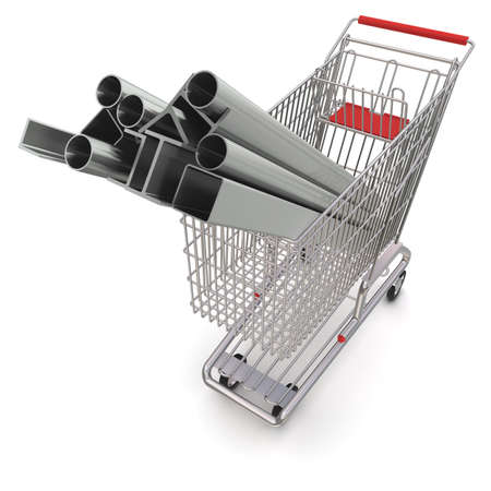 Steel Pipe: Metal in your shopping cart Stock Photo
