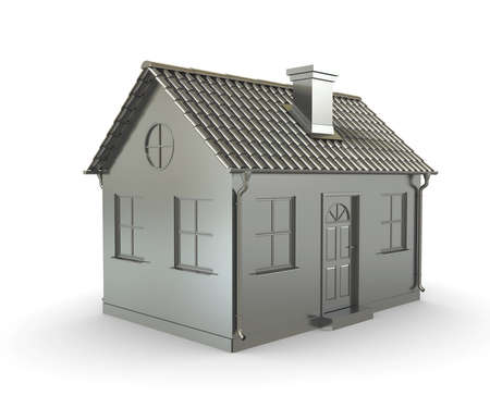 yellow roof: Metal house on a white background