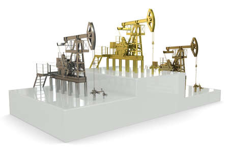 Wells (Trophy shaped like oil well) - winners of the biggest oil production. Stock Photo - 12362485